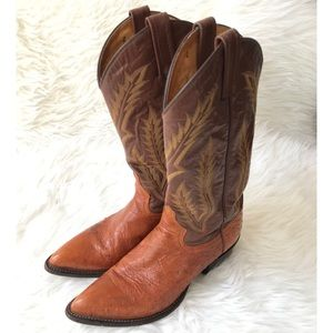 Tony Lama Smooth Ostrich Exotic Western Boot Sz 8
